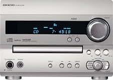 Chaîne hi-fi design Onkyo CS-320 Ampli-tuner-CD avec enceintes laquées noir, tuner RDS, amplification WRAT 2x26W, compatible MP3, convertisseur N/A 1 bitn, façade aluminium et sortie caisson de grave