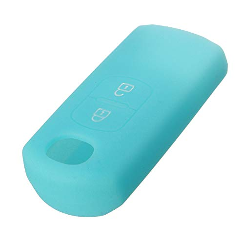 PeroFors 2 Button Silikon Cover Fob Case Remote Key Case for Mazda 2 3 5 6-Light Blue