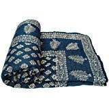 Aadinath Collection Gold Print Jaipuri Light Weight Dark Blue Cotton Single Bed...