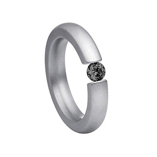 Heideman Damen-Ring alterna 4mm glanzmattiert Spannring mit Swarovski stein schwarz 4 mm funkelt wie ein Diamant aus Edelstahl silber farbend Größe 51 - Diamant-ring-größe 9