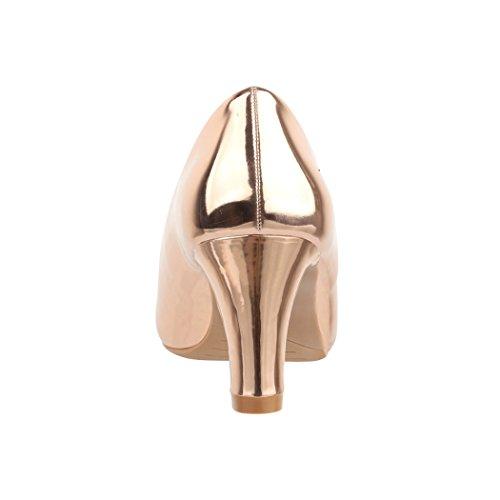 Elara Damen Pumps | Bequeme High Heels Lackoptik Trichterabsatz | Vintage-Style | Chunkyrayan 7056-P-Champagner-38 - 5