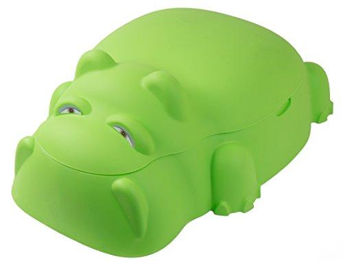 Hippo Sandkasten Planschbecken mit Deckel Sandkiste Kinderpool Buddelkasten , Farbe:grün