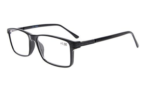 Eyekepper Retro Rectangle TR90 Rahmen-Frühlings-Scharniere-Lesegläser Stylish Kristall-freie Sicht-Schwarzes +1.5