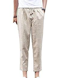 BoBoLily Pantalones Informales para Hombres Pantalones Cortos De Cintura  Alta Pantalones De Lino Retro Pantalones De 12a5a9e18321
