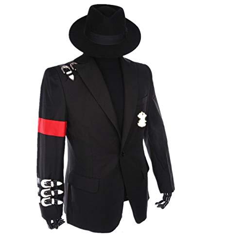 Shuanghao Michael Jackson Professionelle Cosplay Michael Jackson Kostüm Retro Punk Stil Schwarze Jacke Anzug Abzeichen (Geben Schwarze Hüte) (XL: H 175-180cm)