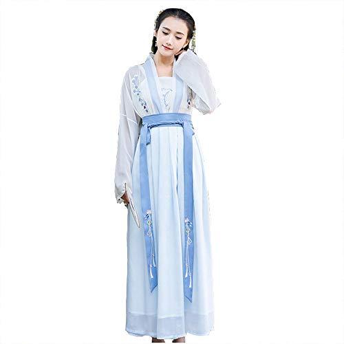 Chinesen Kleid Kostüm - YCWY Der alte Chiffon- Chinese Hanfu der Frauen, Weinlesefotoaufnahme-Kleidung stickte chinesisches Kleid für Partei Cosplay Tanz-Kostüm-Blume, die 4 Klagen druckt,L