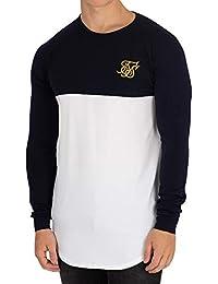 Sik Silk Hombre Camiseta de Gimnasio Raglan Longsleeved, Blanco