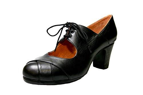 Menkes Zapato Flamenco Modelo Debutante Calé Piel con Clavos para Mujer Talla 38 Negro