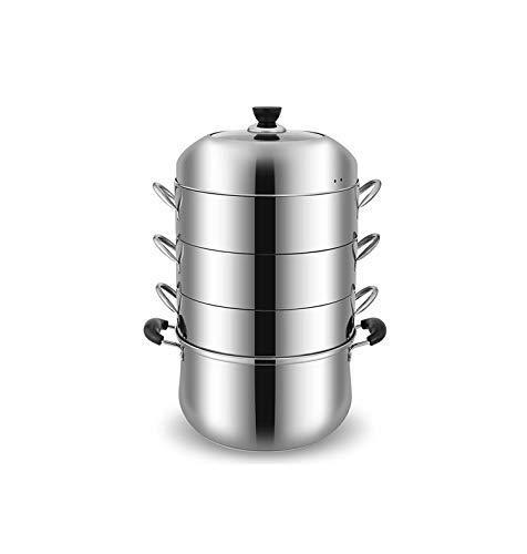 YXHUI Edelstahl-Dampfgarer für den Haushalt, originaler Topf gedämpftem Reiskochtopf, Dampfgarer, Vier Schichten, langlebig, bequem, sicher und hygienisch. Good Life, Good Taste.
