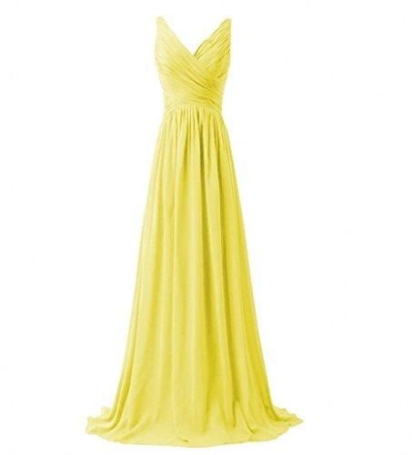 Milano Bride Einfach V-ausschnitt Zwei-traeger Abendkleider Partykleider Brautjungfernkleider Lang A-linie Rock Gelb