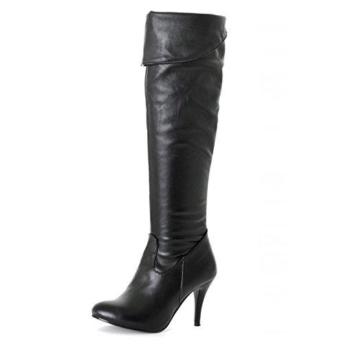 Nonbrand Damen Stiletto-Heels / Overknee-Stiefel aus Kunstleder Schwarz (Black Pu)