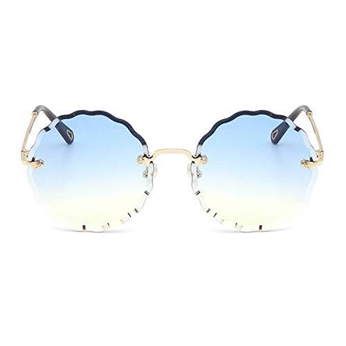 Lxc Runde Fashion Flower Sonnenbrille Ohne Rand Brille UV400 Schutz Unisex Gold Frame Zeige Temperament (Farbe : Blue) (Fashion Brille Reader)