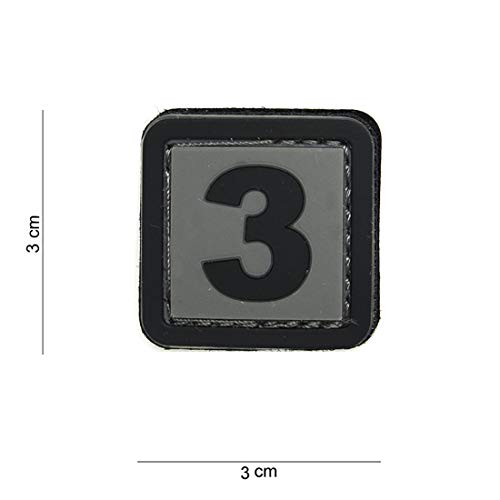 Tactical Attack PVC 3 grau Softair Sniper PVC Patch Logo Klett inkl gegenseite zum aufnähen Paintball Airsoft Abzeichen Fun Outdoor Freizeit