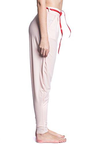 Abbino IG001 Hosen Donne Ragazze - Made in Italy - Multiplo Colori - Mezza Stagione Transizione Primavera Autunno Inverno Casuale Tenerezza Sexy Moda Dolce Flessibile Elegante Saldi Giovane Rosa (Art. 7938)