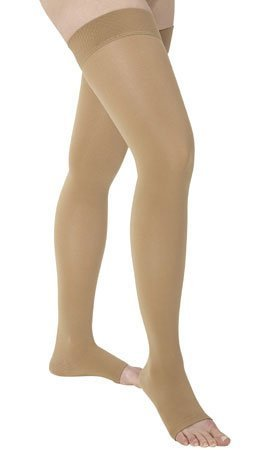 Medi Comfort Thigh High (Medi comfort Thigh High with Beaded Silicone Band 15-20mmHg Open Toe, III, Natural by Medius)