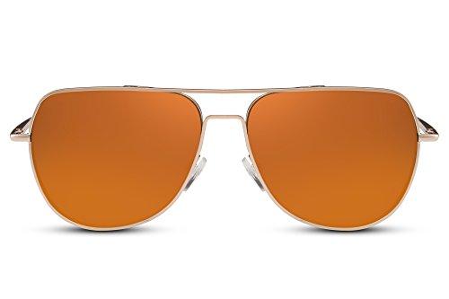 Cheapass Designer-Sonnenbrille Verspiegelt Gold-en UV-400 Piloten-Brille Exklusiv Festival-Brille Metall Damen Herren