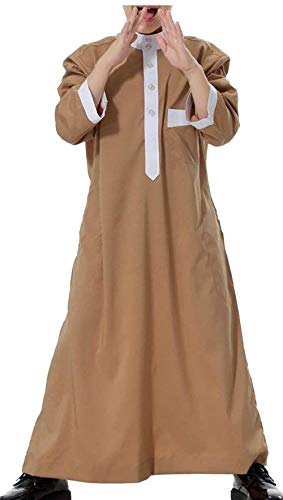 HGYTUjnmk Guay Manga Larga Sólida de Arabia Saudita Thobe Islámica Musulmana de Dubai (Color : Camel, tamaño : Medium)