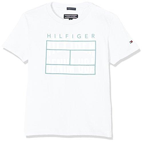 Tommy Hilfiger Jungen T-Shirt Ame Logo CN Tee S/S, Weiß (Bright White 123), 140 (Herstellergröße: 10) (Tommy Hilfiger Kinder)