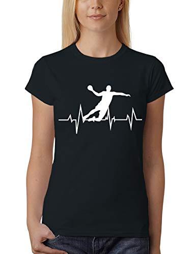 Fieber Schwarzes T-shirt (clothinx Damen T-Shirt Fit Handball Fieber Schwarz Gr. L)