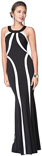 Jeansian Femmes Fashion Sexy Lady Robe Longue Womens Impression Striped Long Dress WHS012 Black