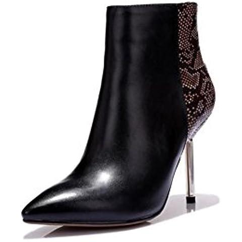 Serpentine di tacchi a spillo in pelle Ladies Martin in autunno e inverno stivali sexy maturi stivaletti , black , 38