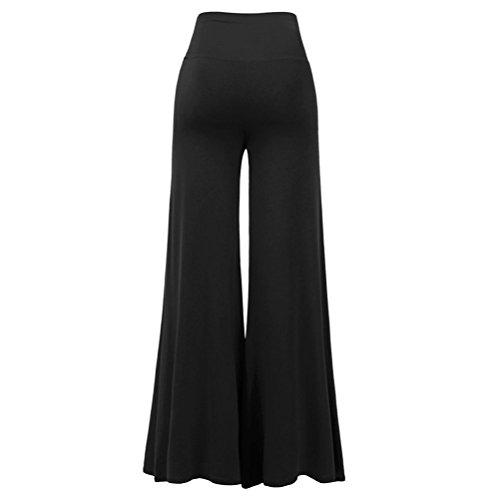 OULII Mujere Pantalones Largo Pierna ancha Cintura alta Pantalones Casual Moda Tamaño XXL Negro