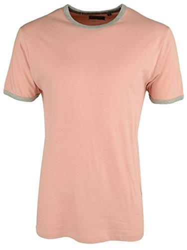Brave Soul 'Tallon' Herren Einfarbig Retro Fußball Trikot  Rundhalsausschnitt T-Shirt Staubiges Rosa