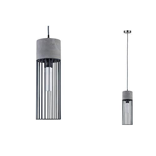 Paulmann 79618 Neordic Henja Pendelleuchte max. 1x20W Hängelampe für E27 Lampen Deckenlampe geb. 230V Beton/Metall ohne Leuchtmittel, Grau, Eisen gebürstet