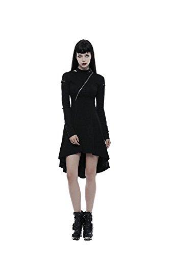 Punk Steampunk Long Sleeves Kleider für Frauen Cotton Buckles Decor Rock Mid Kleider Black ()