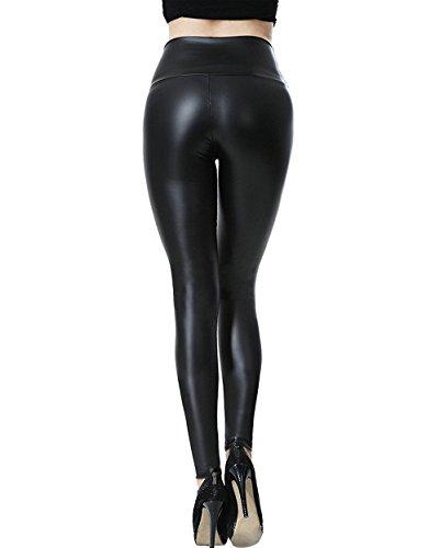 Leggings in PU in pelle sintetica elasticizzata da donna Pantaloni a vita  alta Pantaloni slim sexy 653382cd5d4