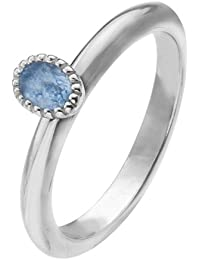 Virtue Silver Stackable VRS4027 Fine Silver Ring with Oval Blue Cubic Zirconia