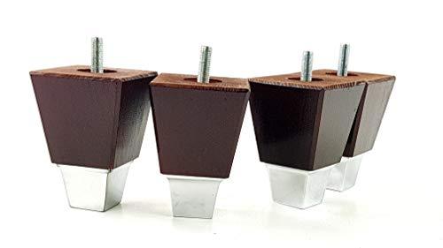 4x Massivholz Möbel Beine Ersatz Füße für Sofas, Stühle, Sofas, Betten, Hocker-M8(8mm) tsp2013 braun im antik-finish - Mahagoni-holz-finish Couchtisch