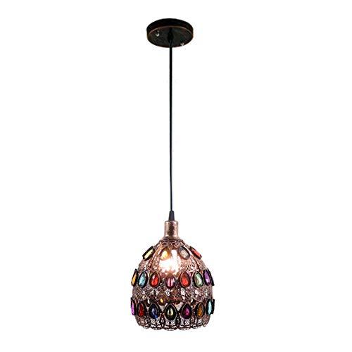 LUXUEY Retro Pendellampe Bronze-Farbe E14 Lampenfassung Marokkanische Stil Design Hängeleuchte Leuchte Eisen Kristall Orient Laterne für Wohnzimmer Küche Beleuchtung