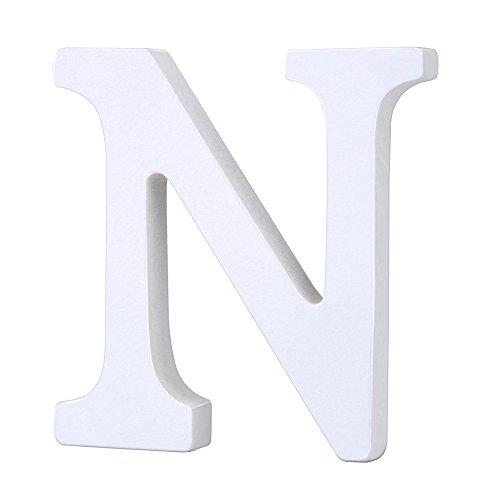 Weiße Holzbuchstaben 8cm von A-Z für Kinderzimmer oder Tür, persönliches Geschenk & Dekoration (Preis pro Buchstabe) (N)