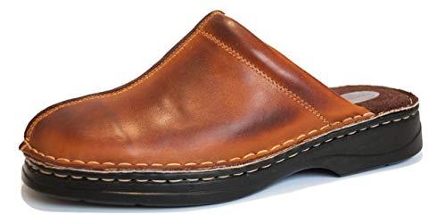 KS 30 Hommes Cuir chaussures en bois Clogs Bru