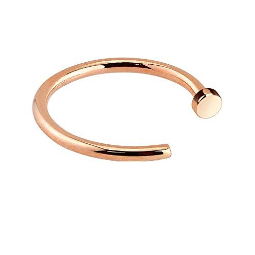 PiercedOff Nasen-Piercing Ring Rosegold Style aus Chirurgenstahl 18GA (1mm x 10mm)