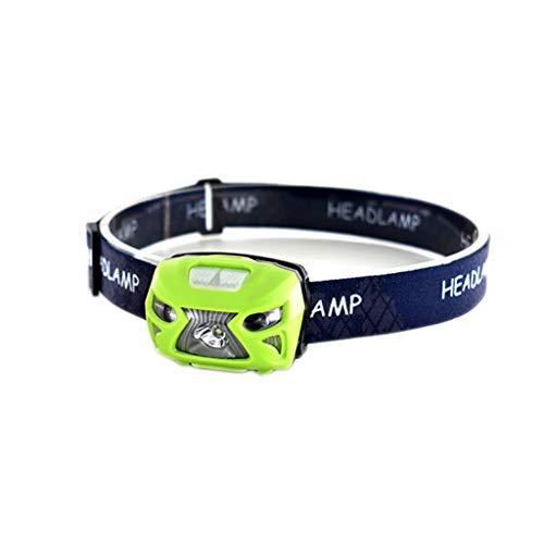 3000lm Mini Ricaricabile LED Faro Impermeabile Testa-Minerale Lampada Torcia Corpo Sensore di Movimento della Bicicletta Fari (Color : Green)