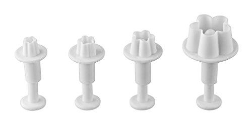"""Dr. Oetker Dekorausstecher 4er """"Blume"""", Ausstechformen für die ganze Jahreszeit, Ausstecher für Marzipan und Fondant - spülmaschinengeeignet (Farbe: Weiß), Menge: 1 x 4er Set"""