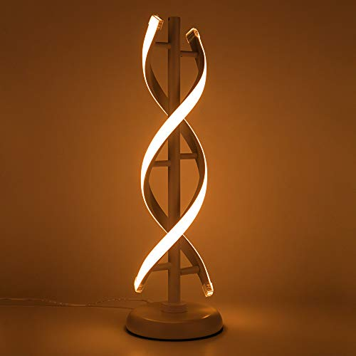 ELINKUME double spirale LED Lampe de table, creative double helix Lampbody correspond à metal base, 12W blanc chaud Protection des yeux Dimmable Éclairage décoratif de lampe de chevet LED - blanc