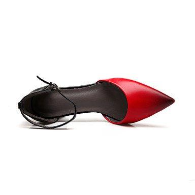 LvYuan Da donna-Sandali-Formale Casual Serata e festa-Altro-Quadrato-Finta pelle-Nero Rosso Tessuto almond Black