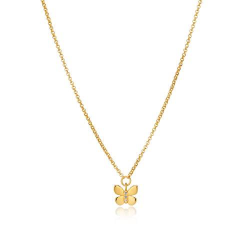 alskette 18 Karat Gold Vermeil Weiß Topas Schmetterling ()