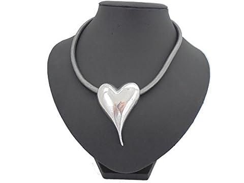 Chunky Silber Herz grau Leder Kordel-Collier pompös silberfarben Schmuck