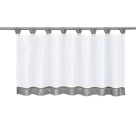 1er-Pack Schlaufen Scheibengardine für Küchen Voile Raffrollo Vorhang (HxB 60x120cm, grau)