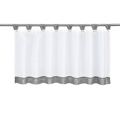 Tendine da finestra per cucina, tende a pacchetto velate da appendere, confezione da 1, tessuto, grau, hxb 60x90cm