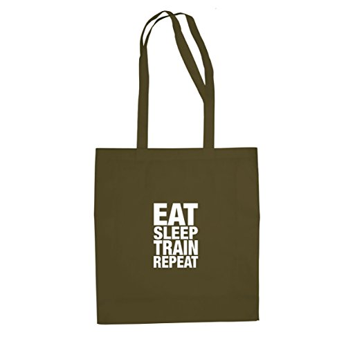 Eat Sleep Train Repeat - Stofftasche / Beutel Oliv