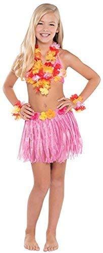 Fancy Me Mädchen Hawaii 5 Stück Kostüm Kleid Outfit Hula Lei Sommer Karneval Festival 4-8 Jahre Bastrock Blumen Lei Top Manschette