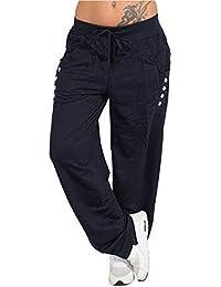 cec1a2d8ce Sylar Pantalones Mujer Deporte Talla Grande Moda Color Sólido Cinturón  Suelto Simple Deportes Pantalones Casuales Pantalones