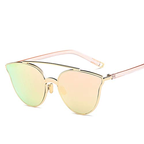 HONGNA Koreanische Version des Trends Der Metall-Sonnenbrille Bunte Film Mirror Star Mit Der Gleichen Sonnenbrille Unisex Outdoor Sports Driving Fishing (Farbe : Golden Frame Cherry Powder)