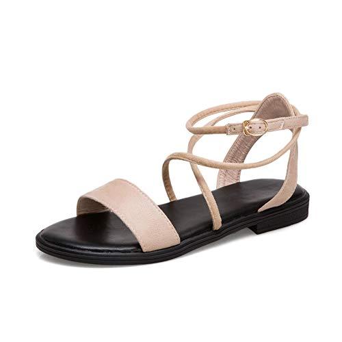Aimint EYR00537 Damen Sandalen mit Schnürung, Beige - beige - Größe: 37 EU (Caged Keil Sandalen)