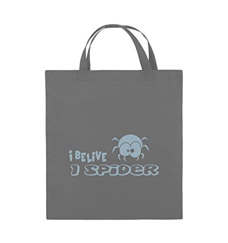 Comedy Bags - I BELIEVE I SPIDER - Jutebeutel - kurze Henkel - 38x42cm - Farbe: Schwarz / Pink Dunkelgrau / Eisblau